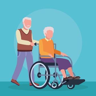 Pareja de abuelos de geriatría