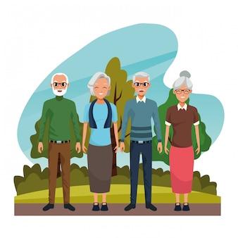 Pareja de abuelos sonriendo en dibujos animados de naturaleza