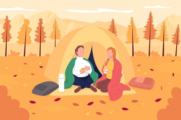 Pareja acampando en la ilustración de vector de color plano de otoño