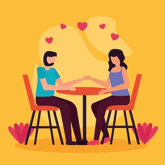 Pareja actividades románticas al aire libre plana