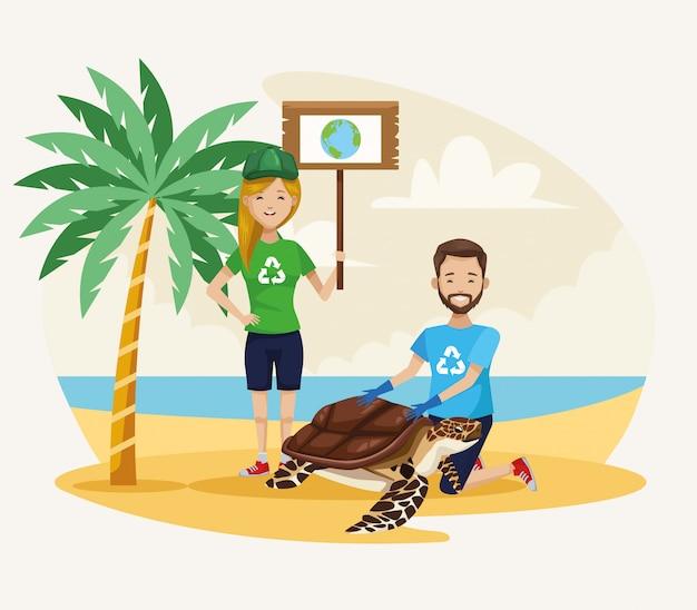 Pareja de activistas limpiando playa con escena de tortuga marina
