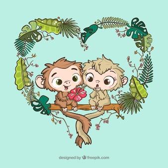 Pareja adorable de monos dibujados a mano