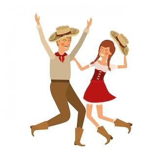 Pareja de agricultores bailando con sombrero de paja