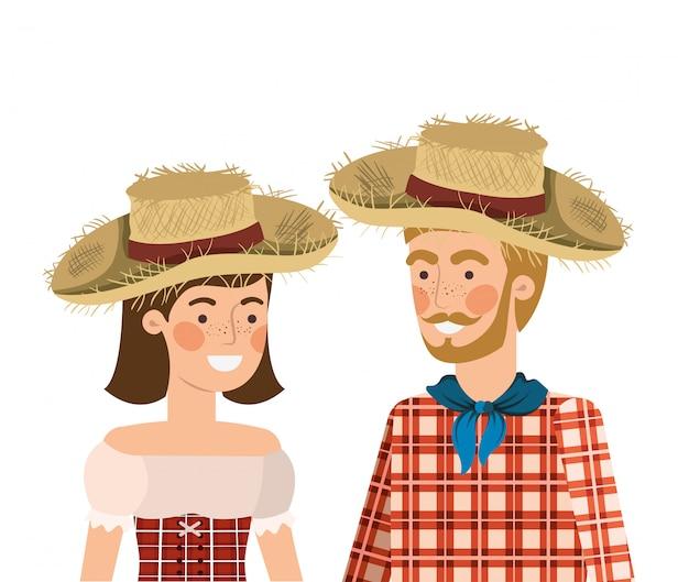 Pareja de agricultores hablando con sombrero de paja