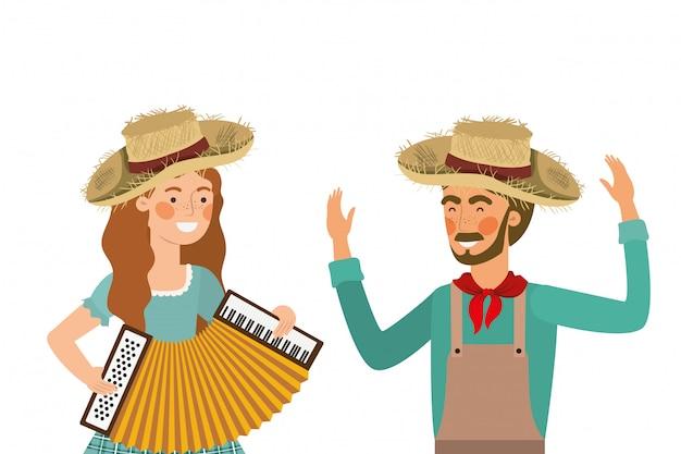 Pareja de agricultores con instrumento musical