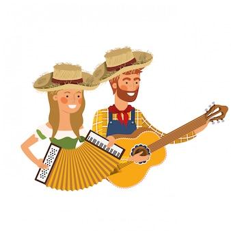 Pareja de agricultores con instrumentos musicales.