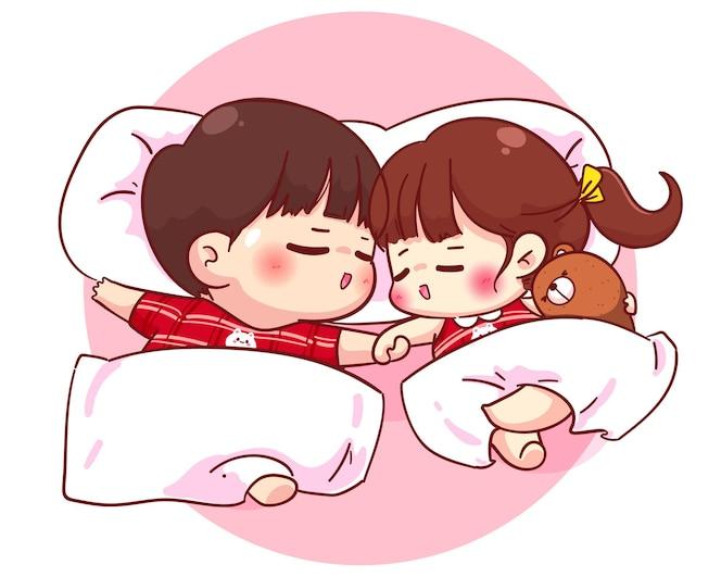 Pareja de amantes durmiendo juntos, ilustración de personaje de dibujos animados