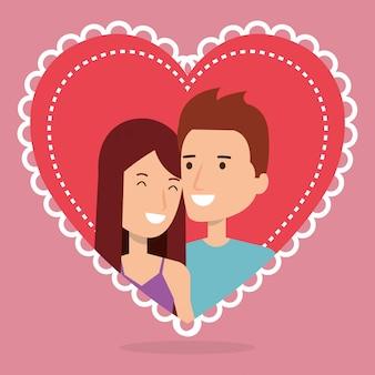 Pareja de amantes en personajes de avatares de corazón