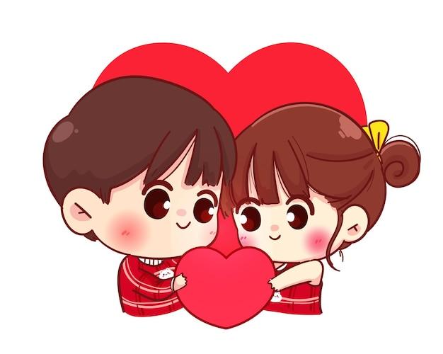 Pareja de amantes sosteniendo corazón leído juntos, feliz día de san valentín, ilustración de personaje de dibujos animados