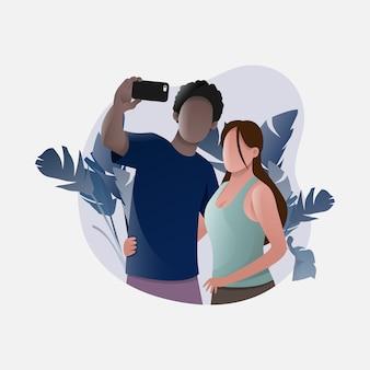 Una pareja de amantes tomando selfies