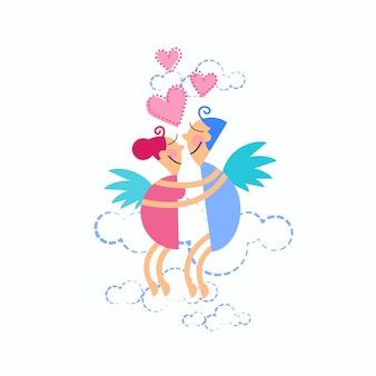 Pareja amor abrazo volando en forma de corazón