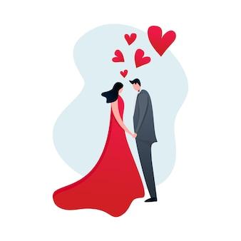 Pareja en el amor en el diseño plano moderno de dibujos animados con corazones