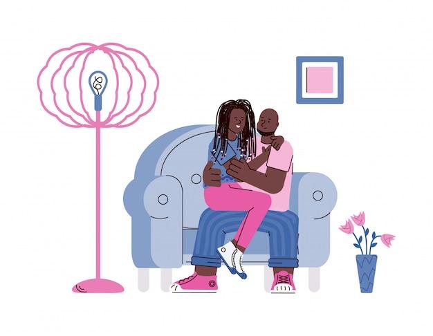 Pareja amorosa afroamericana abrazando, ilustración de dibujos animados