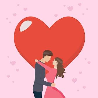 Pareja amorosa se está besando con gran corazón