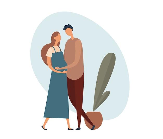 Pareja amorosa esperando bebé. ilustración