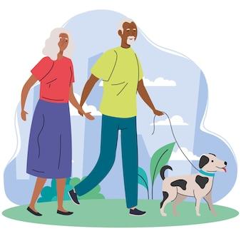 Pareja de ancianos afro caminando con perro mascota en el parque ilustración