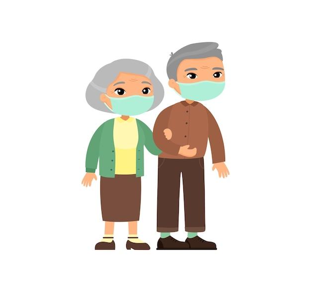 Pareja de ancianos asiáticos en máscaras médicas. pareja mayor caminando juntos. anciana sostiene el brazo del anciano. concepto de alergias o infecciones virales respiratorias.