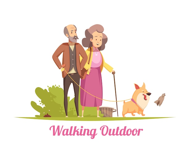 Pareja de ancianos caminando con ilustración de cachorro feliz