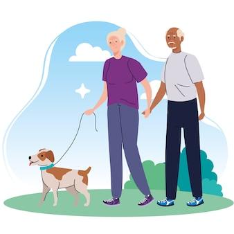 Pareja de ancianos caminando con perro mascota en el parque ilustración