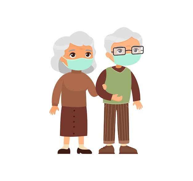 Pareja de ancianos caucásicos en máscaras médicas