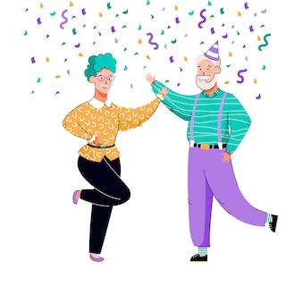 Pareja de ancianos celebrando y bailando bajo confeti de colores