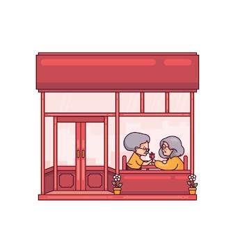 Pareja de ancianos cena en restaurante chino