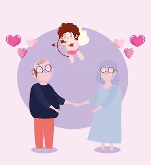 Pareja de ancianos y cupido con flecha y arco amor dibujos animados de corazones románticos