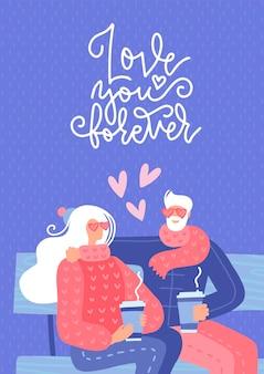 Pareja de ancianos enamorados sentados en un banco