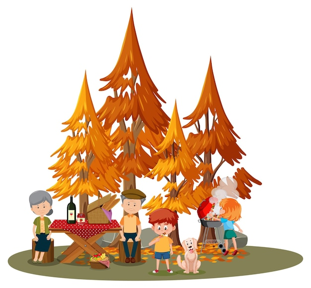 Pareja de ancianos haciendo picnic con muchos niños en el parque