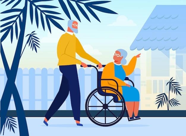 Pareja de ancianos en la ilustración plana de paseo al aire libre