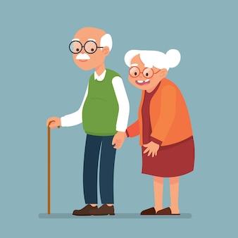 Pareja de ancianos juntos, anciano y anciana caminan juntos