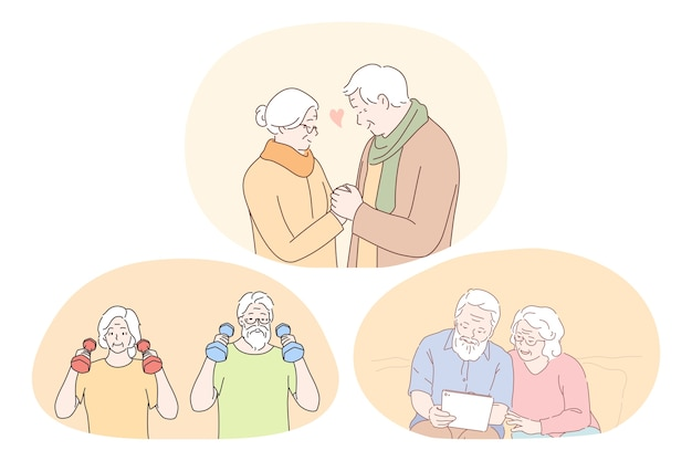 Pareja de ancianos mayores que viven el concepto de estilo de vida activo feliz. pareja de ancianos haciendo entrenamiento físico, leyendo un libro o mirando un álbum de fotos y disfrutando del tiempo y el amor juntos