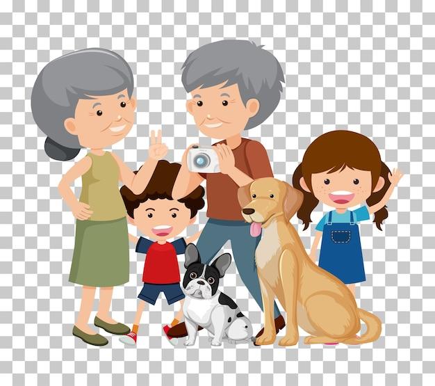 Pareja de ancianos y nieto con sus perros aislados sobre fondo transparente