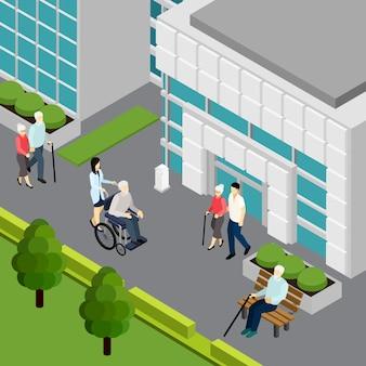 Pareja de ancianos y pensionistas solitarios con asistentes cerca del edificio de la institución isométrica ilustración vectorial