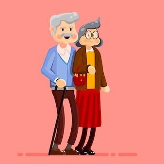 Pareja de ancianos a pie