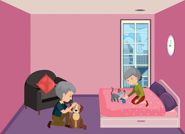 Pareja de ancianos quedarse en casa