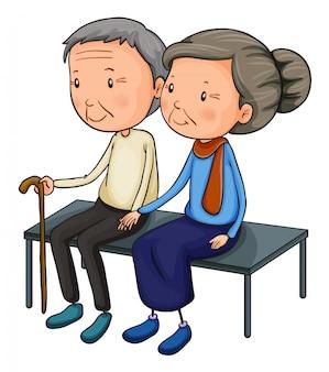 Pareja de ancianos saliendo