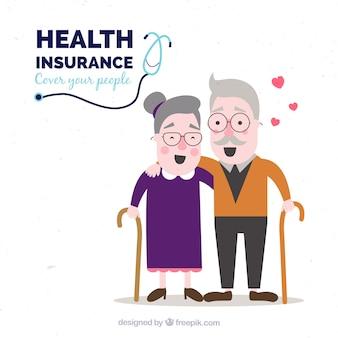 Pareja de ancianos sanos y felices