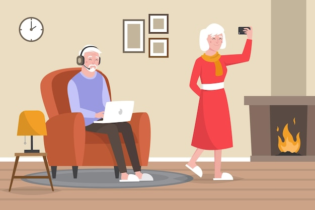 Pareja de ancianos utilizando varios dispositivos digitales.