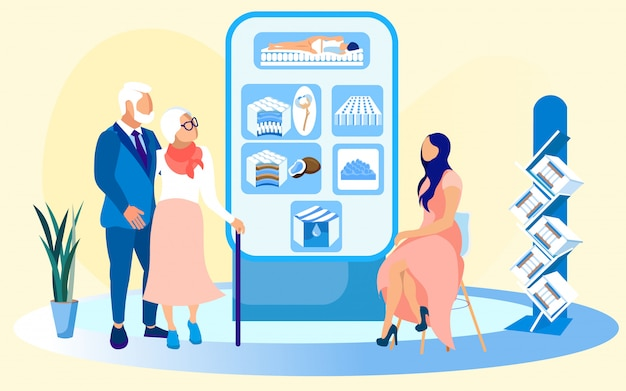 Pareja de ancianos y vendedora en tienda de colchones