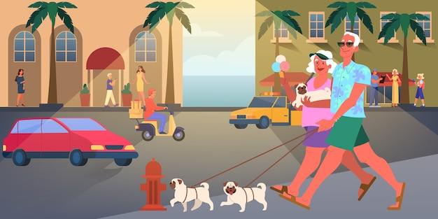 Pareja de ancianos viajan juntos. mujer y hombre jubilado. feliz abuelo y abuela paseando a un perro. ilustración