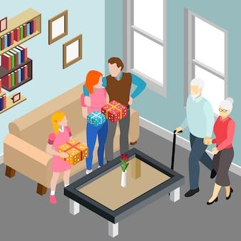 Pareja de ancianos durante la visita familiar a los niños y la nieta en la ilustración de vector isométrica interior del hogar