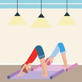 Pareja apta practicando yoga