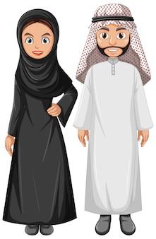 Pareja árabe adulta con personaje de traje árabe