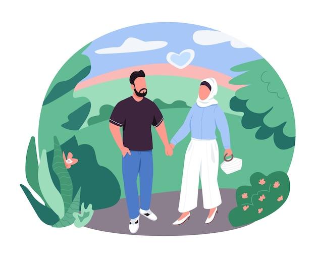 Pareja árabe en banner web 2d a pie, cartel. hombre y mujer en el parque se dan la mano. personajes planos de la familia musulmana sobre fondo de dibujos animados. parche imprimible de vacaciones románticas, elemento web colorido