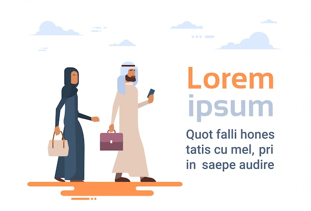 Pareja árabe gente musulmana hombre de negocios y mujer ropa tradicional caracteres árabes