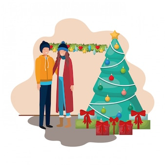 Pareja con árbol de navidad y regalos