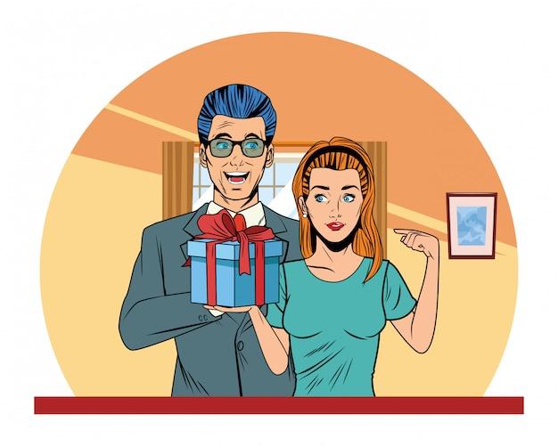 Pareja avatar con caja de regalo