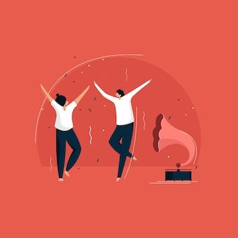 Pareja de baile, pareja disfrutando de una fiesta retro, bailando en el gramófono