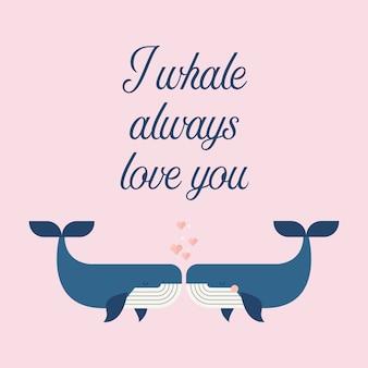 Pareja de ballenas en cartel de amor